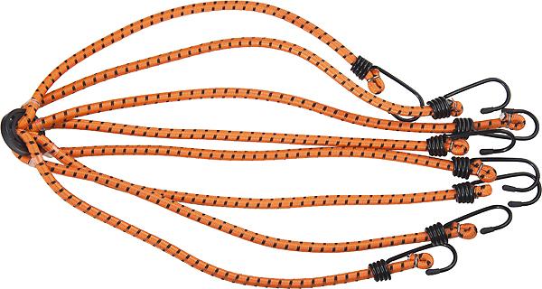 Резинка-паук Stels для крепления багажа, усиленная, 8 крюков54364Паук багажный имеет надежную и удобную конструкцию: четыре резиновых жгута, перехваченных в середине кольцом, оснащены на концах крюками, надежно зацепляющимися за багажник. Применяется для закрепления предметов в открытых багажниках, монтируемых на крышах легковых автомобилей.