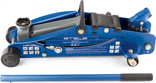 """Домкрат гидравлический подкатный """"Stels"""", с фиксатором, 2,5т SAFETY PIN, 140-385 мм, в кейсе 51132"""