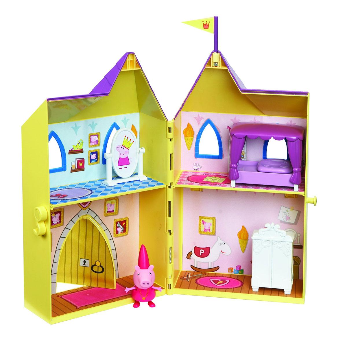 Peppa Pig Игровой набор Замок принцессы15562Игровой набор Peppa Pig Замок принцессы непременно приведет в восторг вашу малышку! Любая девочка мечтает однажды проснуться принцессой и поэтому с радостью играет в игры от лица царственных особ. А знаменитая и любимая детьми свинка Пеппа и ее прекрасный замок - это как раз то, что нужно, чтобы как можно лучше почувствовать себя настоящей дочерью короля! Роскошные апартаменты, состоящие из четырех комнат, прекрасная кукольная мебель, окна и двери, сделанные под старину, а сверху башенка с королевским флагом. Игрушка изготовлена из качественной пластмассы и абсолютно безвредна, поэтому вы можете не беспокоиться о здоровье ребенка. В наборе Замок принцессы двухэтажный домик в виде сказочного, фигурка Пеппы-принцессы с двигающимися ручками и ножками, мебель и аксессуары для оформления внутреннего пространства замка (шкаф, кровать, игрушечное зеркало). Домик разделен на 4 игровые зоны (спальня, гардеробная, игровая комната, парадная с вращающейся дверью). Товар...