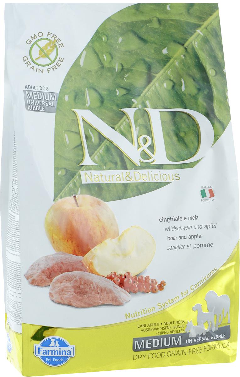 Корм сухой для собак Farmina N&D, беззерновой, с кабаном и яблоком, 2,5 кг20345Сухой корм Farmina N&D является беззерновым и сбалансированным питанием для взрослых собак. Изделие имеет высокое содержание витаминов и питательных веществ. Сухой корм содержит натуральные компоненты, которые необходимы для полноценного и здорового питания домашних животных. Товар сертифицирован.