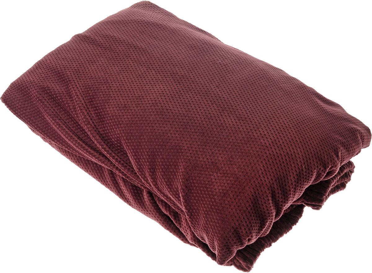 Чехол на диван Медежда Бирмингем, двухместный, цвет: красно-коричневый1402031110002Чехол на двухместный диван Медежда Бирмингем изготовлен из стрейчевого велюра (100% полиэстер). Тонкий геометрический дизайн добавляет уют помещению. Велюр - по праву один из уверенных лидеров среди мебельных тканей. Поверхность велюра приятна для прикосновений. Сочетание нежности и прочности - визитная карточка велюра. Вещи из него даже спустя много лет смотрятся, как новые. Чехол легко растягивается и хорошо принимает форму дивана, подходит для большинства стандартных диванов с шириной спинки от 145 до 185 см. За счет специальных фиксаторов чехол прочно держится на мебели, не съезжает и не соскальзывает. Имеется инструкция в картинках по установке чехла. Ширина спинки: 145-185 см. Длина подлокотника: 60-80 см. Высота сиденья от пола: 45-50 см. Глубина сиденья: 45-55 см.