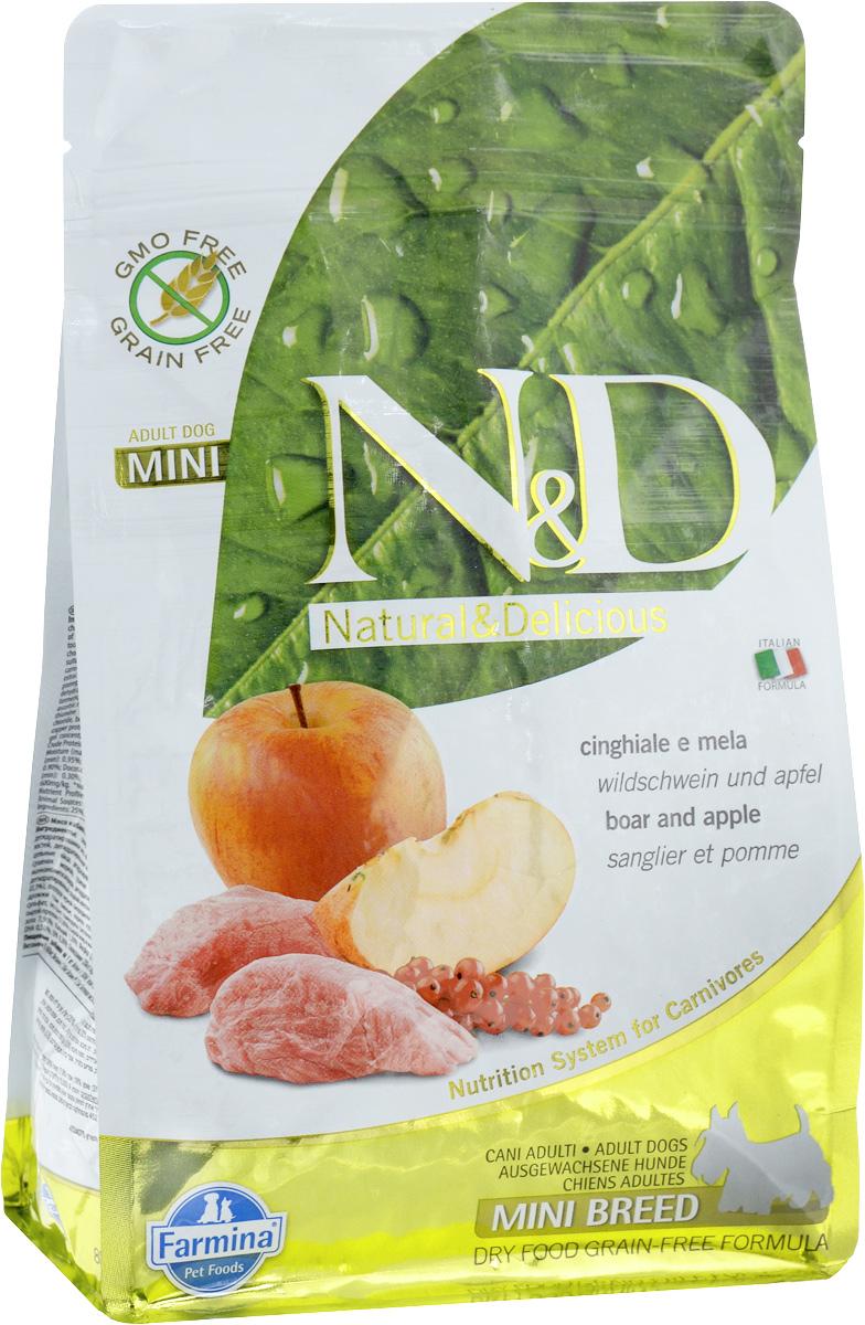 Корм сухой Farmina N&D для собак мелких пород, беззерновой, с кабаном и яблоком, 800 г21632Сухой корм Farmina N&D является беззерновым и сбалансированным питанием для взрослых собак мелких пород. Изделие имеет высокое содержание витаминов и питательных веществ. Сухой корм содержит натуральные компоненты, которые необходимы для полноценного и здорового питания домашних животных. Товар сертифицирован.