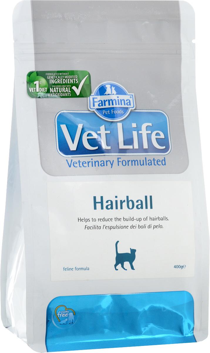 Корм сухой для взрослых кошек Farmina Vet Life, диетический, для выведения комочков шерсти из кишечника, 400 г21717Сухой корм Farmina Vet Life - полнорационное питание для взрослых кошек, которое способствует выведению комочков шерсти из кишечника. Механизм действия: -Оптимальное соотношение растворимой и нерастворимой фракций клетчатки регулирует дефекацию. -Введение в рецептуру пребиотиков поддерживает баланс кишечной микрофлоры и улучшает усвоение питательных веществ. -Добавки витаминов и аминоксилот поддерживают здоровье кожи и шерсти. -Контролируемый уровень магния в сочетании с сульфатом кальция снижают риск развития мочекаменной болезни. Состав: дегидратированное куриное мясо, овес, волокна гороха (10%), животный жир, кукурузный глютен, дегидратированная рыба, рис, льняное семя, пульпа сахарной свеклы, гидролизат белков животного происхождения, дегидратированные цельные яйца, рыбий жир, растительное масло, подорожник (1,5%), фруктоолигосахариды (0,6%), маннанолигосахариды (0,6%), пивные дрожжи, хлорид калия, хлорид...