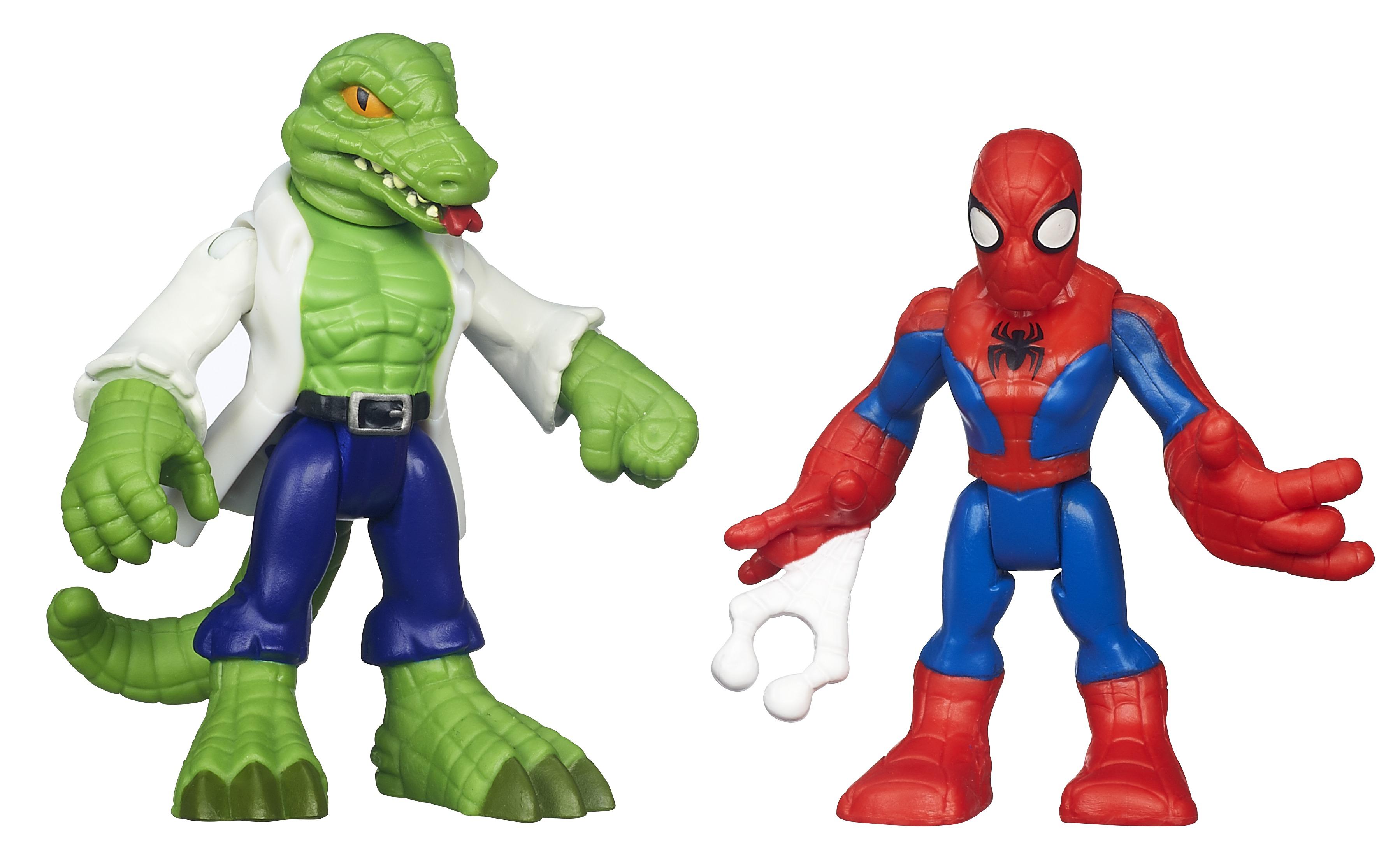 Playskool Heroes Набор фигурок Spider-man & LizardA7109EU6Набор фигурок Spider-man станет прекрасным подарком для вашего ребенка. Набор содержит 2 культовых персонажа из комикса про Человека-Паука, с которыми можно играть бесконечно. Фигурки выполнены из прочного яркого пластика. Голова, руки и ноги фигурок подвижны, что позволит придавать им различные позы. Ваш ребенок будет часами играть с этими фигурками, придумывая различные истории с участием любимых героев. Человек-паук - супергерой, получивший суперсилу, увеличенную ловкость, паучье чутье, а также способность держаться на отвесных поверхностях и выпускать паутину из рук. Теперь он готов наказать злодеев, которые покушаются на покой его родного города!
