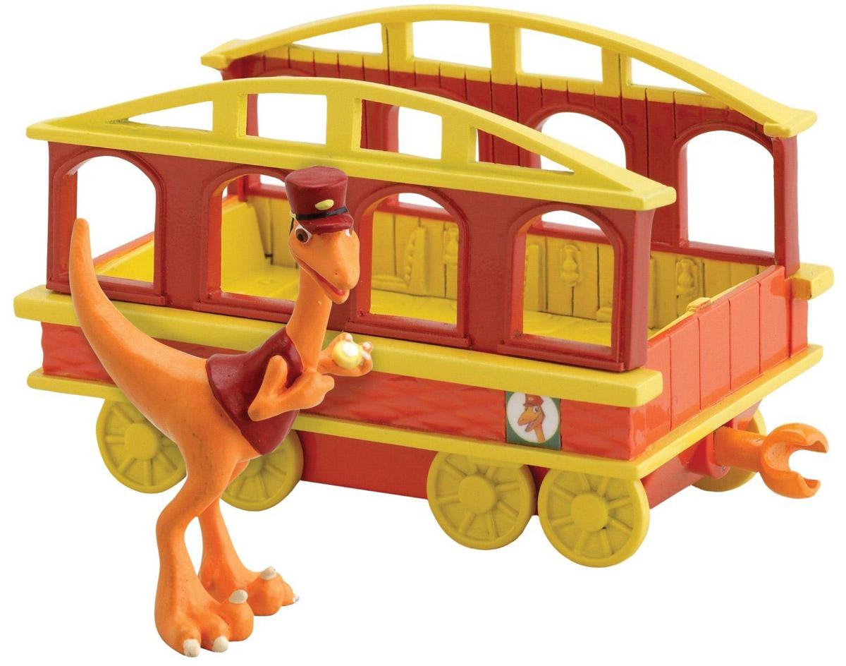 Игровой набор Tomy Поезд Динозавров: Кондуктор с вагончикомТ57085Игровой набор Tomy Поезд Динозавров: Кондуктор с вагончиком приведет в восторг вашего ребенка. Набор выполнен из яркого пластика и включает красно-желтый вагончик с окошками и фигурку в виде динозавра Кондуктора - персонажа мультсериала Поезд Динозавров. Колесики вагончика крутятся; малыш сможет катать в нем динозаврика. С помощью сцепок с обеих сторон вагончик подсоединяется к другим вагончикам этой серии, образуя веселый поезд динозавров! Ребенок с удовольствием будет играть с этим набором, воспроизводя сценки из мультсериала или придумывая свои увлекательные истории. Порадуйте его таким замечательным подарком!