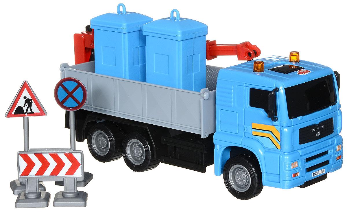 Dickie Toys Автокран цвет синий3744003_кран 2Автокран Dickie Toys - интересная машина для ребенка, который увлекается игровой спецтехникой. Машина имеет свободный ход движения и поворотную башню крана. Крюк у крана вытягивается на веревочке. Также в комплекте 4 дорожных знака и 2 контейнера для мусора. С автокраном Dickie Toys ваш ребенок сможет развернуть настоящую строительную площадку. Играя с такой машинкой ребенок развивает фантазию, пространственное мышление и адаптируется через игру к окружающему миру.