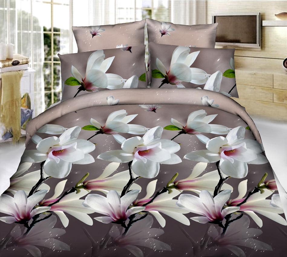Комплект белья ЭГО Жизель, 1,5-спальный, наволочки 70 x 70, цвет: серый, бежевыйЭ-2029-01_серый, бежевый