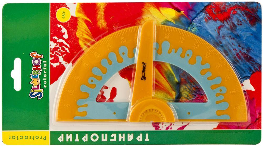 Silwerhof Транспортир Colorful 180 градусов160071Транспортир прорезиненный, 180°. С механизмом выставления угла. В блистерной упаковке.