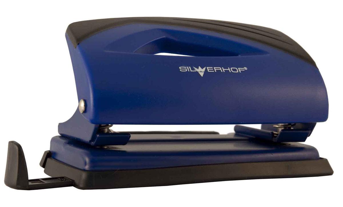 Silwerhof Дырокол Shark цвет синий 12 л391012-04Надежное металлическое основание. Нажимная часть из ударопрочного пластика.Эргономичная вставка на корпусе. Пробивной механизм из легированной стали. Пластиковый поддон для сбора конфетти с функцией частичного открывания. Выдвижная форматная линейка. Пробивная мощность 12 листов бумаги 80г/м