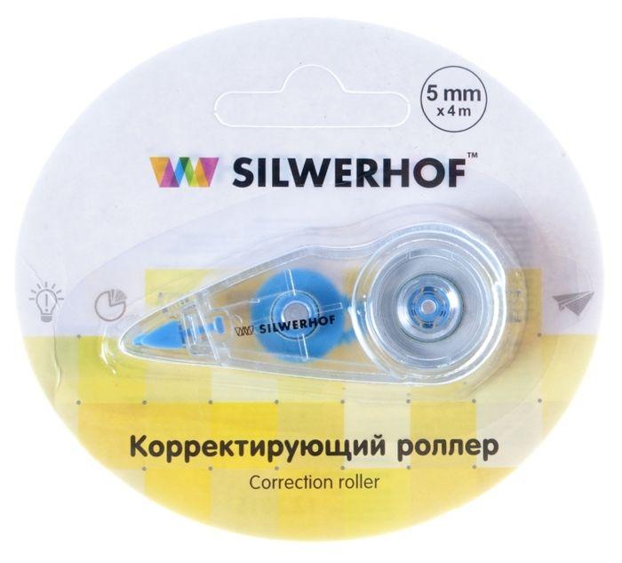 Silwerhof Корректирующая лента-роллер цвет прозрачный 5 мм х 4 м443010Удобный блистер,. Фронтальная подача ленты. Блистерная упаковка.