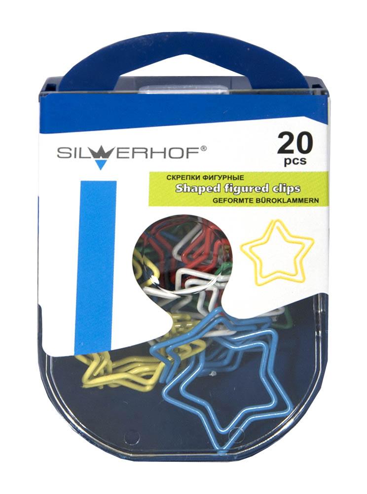 Silwerhof Скрепки Звезда 20 шт493003Изготовлены из высококачественной стали с цветным виниловым покрытием. Благодаря молибдену, который входит в состав скрепок. Увеличивается гибкость стали, что помогает возвращать скрепку в первоначальное состояние.