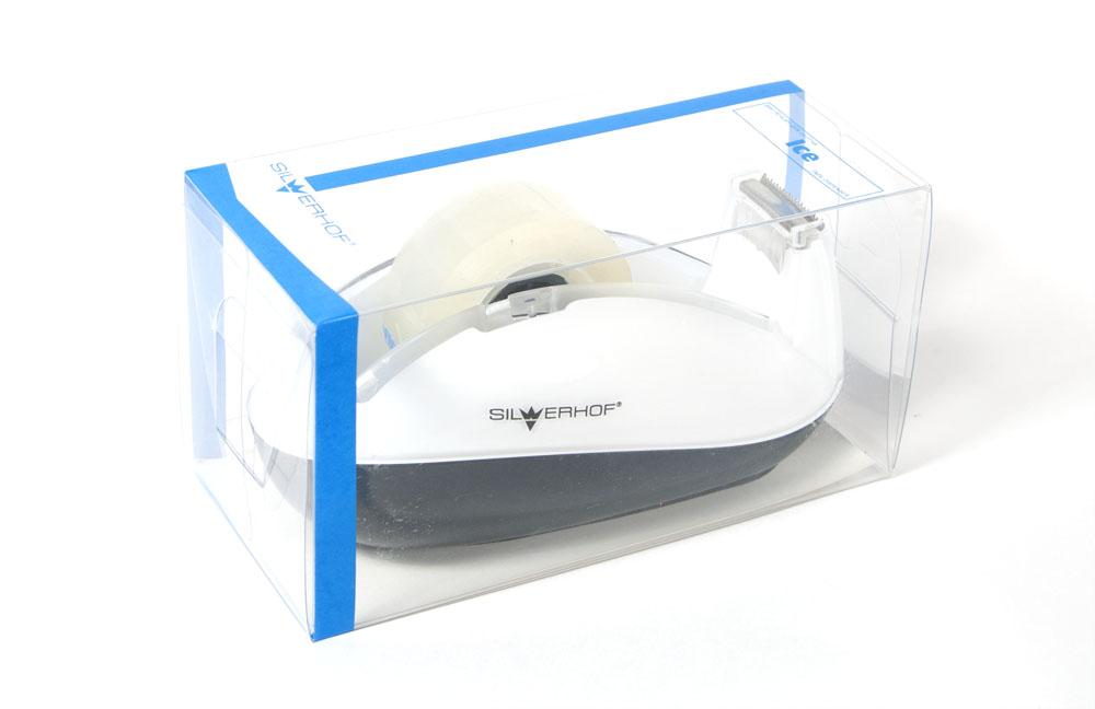 Silwerhof Диспенсер для клейкой ленты Ice цвет белый 18 мм564003Офисные принадлежности современного дизайна, выполненные в черно-белых цветах, легко впишутся в интерьер любого офиса. Настольные аксессуары можно приобрести не только в наборе, но и отдельно друг от друга. Что позволяет создать максимально функиональный набор.
