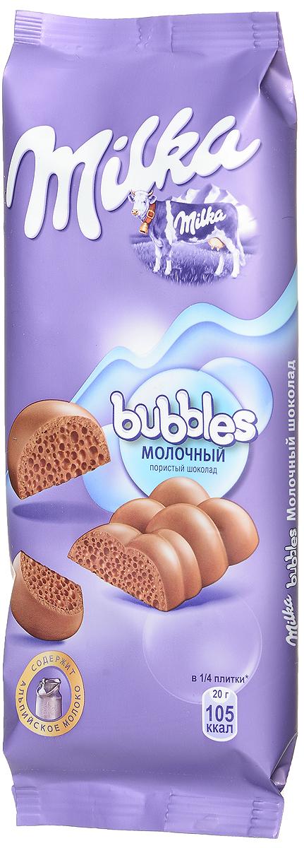 Milka Bubbles шоколад молочный пористый, 80 г975421Восхитительный молочный пористый шоколад переносит вас в мир наслаждения и покоя. Время замедляет свой ход и каждое мгновение наполнено незабываемым вкусом. И пусть весь мир подождёт...