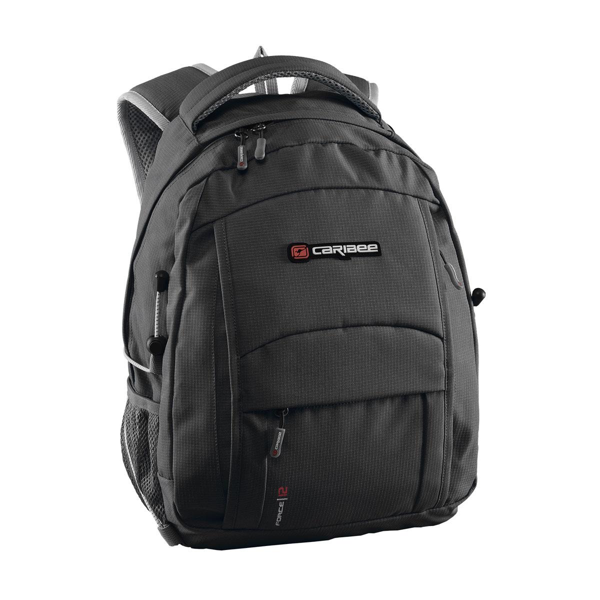 Рюкзак городской Caribee Force, цвет: черный, 12 л6100Многофункциональный рюкзак, отличающийся высоким качеством и практичностью. Мягкая спинка и лямки, покрытие сетчатой тканью, пропускающей воздух. Фронтальные карманы на молнии для мелких предметов. Встроенный органайзер. Сетчатые боковые карманы для бутылок с водой. Защита молний от влаги. Удобная ручка для переноски. Неотъемлемая часть молодежных рюкзаков -отделение для плеера с cord-портом. Совместимость с питьевой системой позволяет значительно облегчить жизнь туристам и спортсменам, которые могут пить воду посредством длинной силиконовой трубки, не занимая рук флягами и бутылками. Объем: 12 л Размер: 36*25*16 см