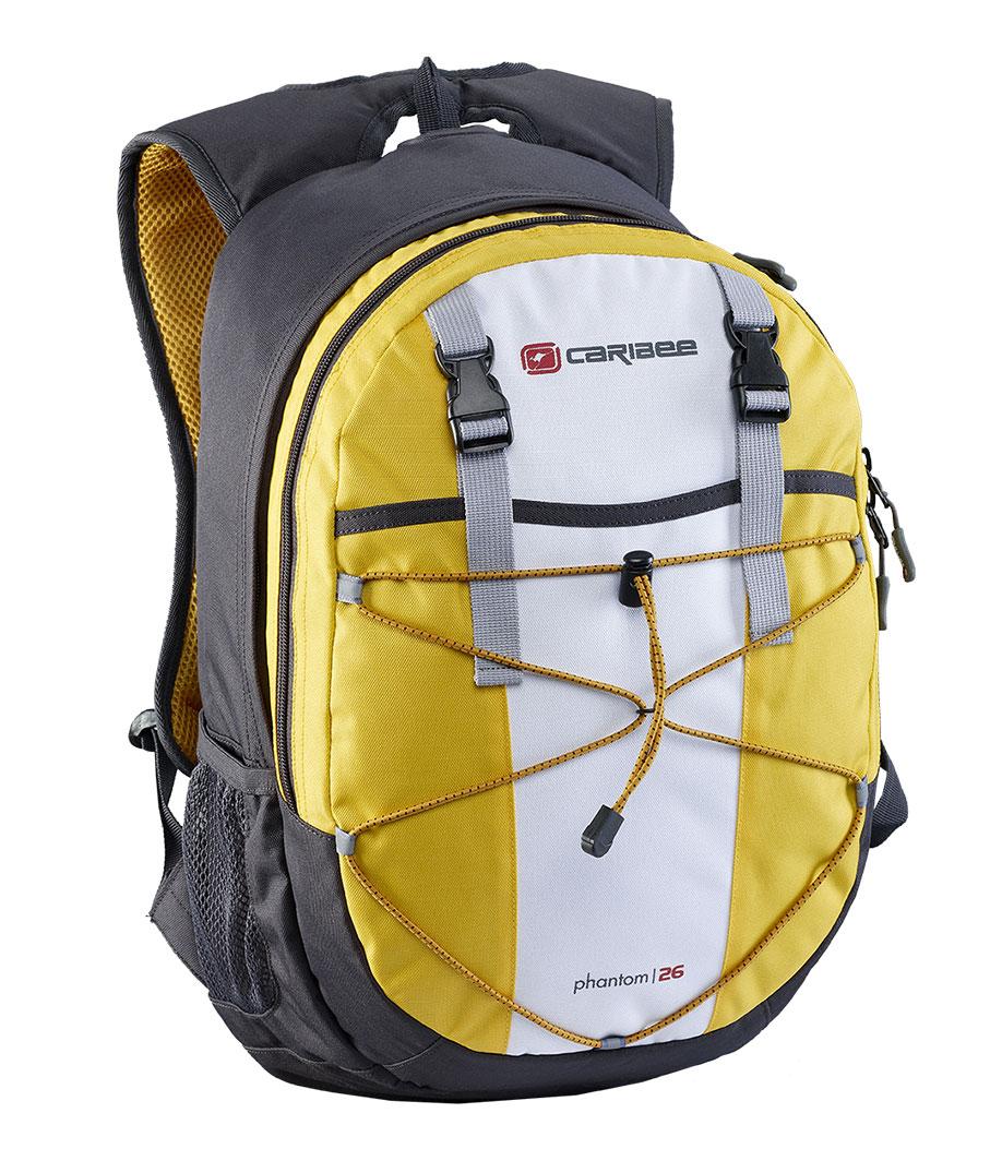Рюкзак городской Caribee Phantom, цвет: желтый, 24 л61021Отличный рюкзак для ежедневного использования, компактный и функциональный. Снабжен одним внутренним отделением и передним карманом на молнии, система резинок на фронтальной части рюкзака позволяет плотнее зафиксировать его содержимое, если рюкзак используется во время занятий спортом (бег, велосипедные прогулки и т.д.). Регулируемый нагрудный ремень обеспечивает плотную посадку рюкзака на спине. Совместимость с питьевой системой позволяет значительно облегчить жизнь туристам и спортсменам, которые могут пить воду посредством длинной силиконовой трубки, не занимая рук флягами и бутылками. Наряду с этим рюкзак вмещает документы формата А4 и имеет встроенный органайзер, поэтому может быть использовать для учебы или работы. Объем: 26 л Размер: 46*28*18 см
