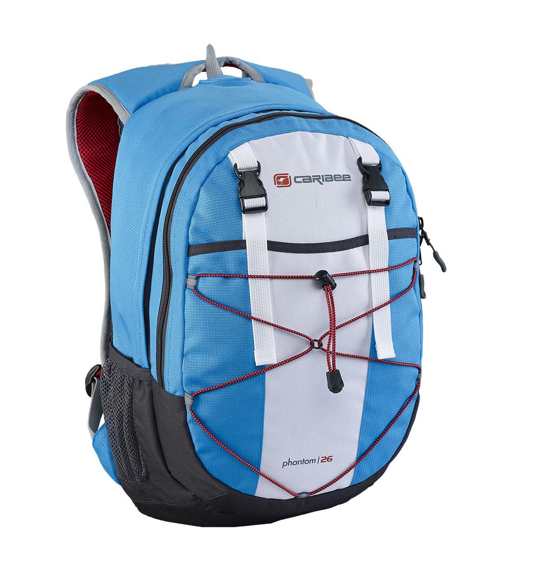 Рюкзак городской Caribee Phantom, цвет: синий, 24 л61022Отличный рюкзак для ежедневного использования, компактный и функциональный. Снабжен одним внутренним отделением и передним карманом на молнии, система резинок на фронтальной части рюкзака позволяет плотнее зафиксировать его содержимое, если рюкзак используется во время занятий спортом (бег, велосипедные прогулки и т.д.). Регулируемый нагрудный ремень обеспечивает плотную посадку рюкзака на спине. Совместимость с питьевой системой позволяет значительно облегчить жизнь туристам и спортсменам, которые могут пить воду посредством длинной силиконовой трубки, не занимая рук флягами и бутылками. Наряду с этим рюкзак вмещает документы формата А4 и имеет встроенный органайзер, поэтому может быть использовать для учебы или работы. Объем: 26 л Размер: 46*28*18 см