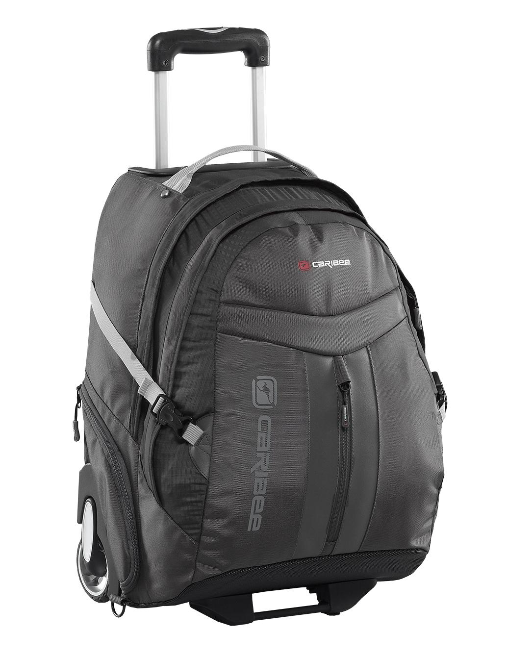 """Рюкзак на колесах Caribee Time Traveller, цвет: черный, 35 л6813Квадратный багаж – это скучно! Гораздо лучше путешествовать с багажом, который подчеркивает вашу индивидуальность. Caribee специализируется на создании инновационных рюкзаков для «авантюристов». В огромном ассортименте от маленьких сумок, подходящих для салона самолета, и заканчивая массивными 130-и литровыми рюкзаками на колесах, вы сможете найти именно тот вариант, который был сделан специально для вас. Современный дизайн с использованием новейших материалов и удобный корпус с выдвигающийся алюминиевой ручкой и большими колесами являются наилучшим решением для современного походного багажа. Рюкзак на колесиках; Соответствует стандартам, допускаемым на борт самолета (105 см); Алюминиевая выдвижная ручка для перевозки на колесиках; Регулируемая система спинки; Мягкий чехол для ноутбука с диагональю до 15,4""""; Вмещает документы формата А4; Внутренний органайзер. Регулируемая подвесная система с мягкой спинкой и анатомическими лямками равномерно распределяет нагрузку по всей спине. ..."""