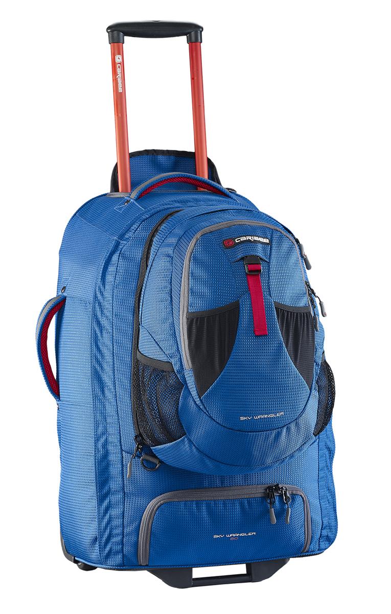 Рюкзак для путешествий Caribee Europa, цвет: голубой, 60 л6824В серии рюкзаков для путешествий EUROPA используется усиленный материал 1200D Dimotec. Эти рюкзаки специально предназначены для активных поездок - когда и рюкзак и колеса имеют большое значение. В рюкзаке есть отстегивающийся мини-рюкзак (передний отдел), который вам очень пригодится при перелетах. Основной отдел очень вместителен и включает в себя отдельный отсек для обуви. Алюминиевая выдвигающаяся ручка с кнопкой и увеличенные колеса обеспечат вам легкое преодоление любых преград на любой местности. А если дорога совсем непроходима, вы можете перекинуть рюкзак через плечо и продолжить путь. Все молнии усилены и не уступают по прочностным характеристикам тем, которыми оснащаются туристические и альпинистские рюкзаки. Как дополнительная защитная функция, мини-рюкзак может быть закреплен специальными ремнями с противоположной стороны основного рюкзака. Таким образом, основной рюкзак будет у вас за плечами, а мини-рюкзак с ценными вещами или документами будет перед вами. Перед Вами -...