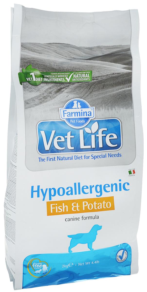 Корм сухой Farmina Vet Life для собак с пищевой аллергией или пищевой непереносимостью, диетический, с рыбой и картофелем, 2 кг25265Корм сухой Farmina Vet Life - это гипоаллергенное диетическое питание для собак, страдающих пищевой аллергией или пищевой непереносимостью. Также рекомендовано, как вспомогательное средство для улучшения трофических функции кожи и ее производных. Корм Farmina Vet Life содержит единственный источник белка животного происхождения - дикая рыба Северного моря (сельдь) и единственный источник углеводов - картофель, что обеспечивает гипоаллергенные свойства продукта. Повышенное содержание независимых жирных кислот способствует снижению воспалительных процессов в коже и ее производных. Рекомендации по кормлению: использовать по назначению ветеринарного врача. Товар сертифицирован.