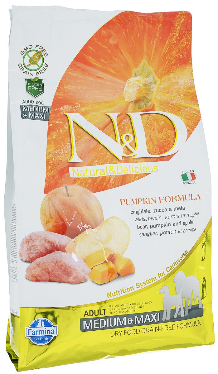 Корм сухой Farmina N&D для собак средних и крупных пород, беззерновой, с кабаном, яблоком и тыквой, 2,5 кг33307Сухой корм Farmina N&D является беззерновым и сбалансированным питанием для собак средних и крупных пород. Изделие имеет высокое содержание витаминов и питательных веществ. Сухой корм содержит натуральные компоненты, которые необходимы для полноценного и здорового питания домашних животных. Товар сертифицирован.