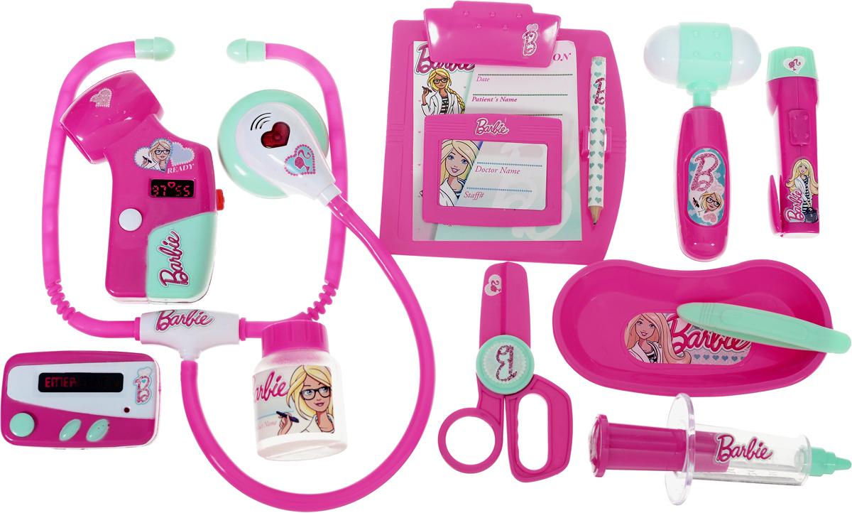 Corpa Игровой набор Юный доктор Barbie 12 предметовD124Игровой набор Corpa Юный доктор Barbie - это замечательный подарок для вашей девочки, которая сможет почувствовать себя настоящим врачом. В набор входит: шприц, молоточек, фонарик, баночка, ножницы, лоток для разных мелочей, пинцет, планшет для записей с карандашом, пейджер, стетоскоп - инструмент, с помощью которого можно послушать ритм сердца и дыхания, сфигмоманометр - прибор для измерения артериального давления и бейджик, как у настоящего доктора. С таким набором ваша малышка сможет примерить на себя сложнейшую, но очень интересную профессию доктора и даже стать настоящим специалистом в области здравоохранения, оказывая медицинскую помощь любимым игрушкам. Все инструменты исключительно безопасны, выполнены из прочных материалов и оснащены звуковыми и световыми эффектами. Для работы сфигмоманометра необходимы 2 батарейки типа AG10 (входят в комплект). Для работы стетоскопа и пейджера необходимы 4 батарейки типа AG13 (входят в комплект).