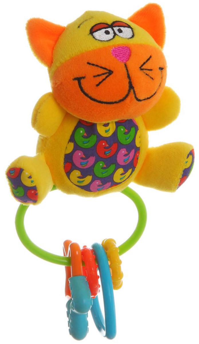 Bondibon Мягкая игрушка-погремушка Кот-пищалкаВВ1299_желтыйМягкая игрушка-погремушка Кот не оставит вашего малыша равнодушным и не позволит ему скучать. Погремушка имеет форму котика и выполнена из безопасного и яркого материала. В теле погремушки спрятана пищалка. Котик дополнен пластиковым кольцом с подвешенными к нему элементами разной формы и цвета. Мягкие погремушки становятся самыми любимыми игрушками малышей в первые месяцы жизни. Именно погремушки передают крохам первый визуальный и тактильный опыт, учат находить взаимосвязь - если потрясти погремушку, то возникнет звук!