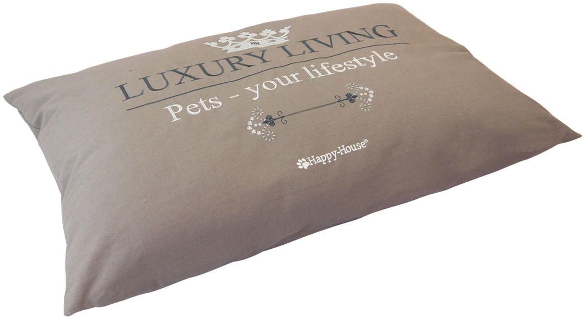 Подушка-база для домашних животных Happy House Luxsury Living, цвет: серый, 92х60х10 см4001-3