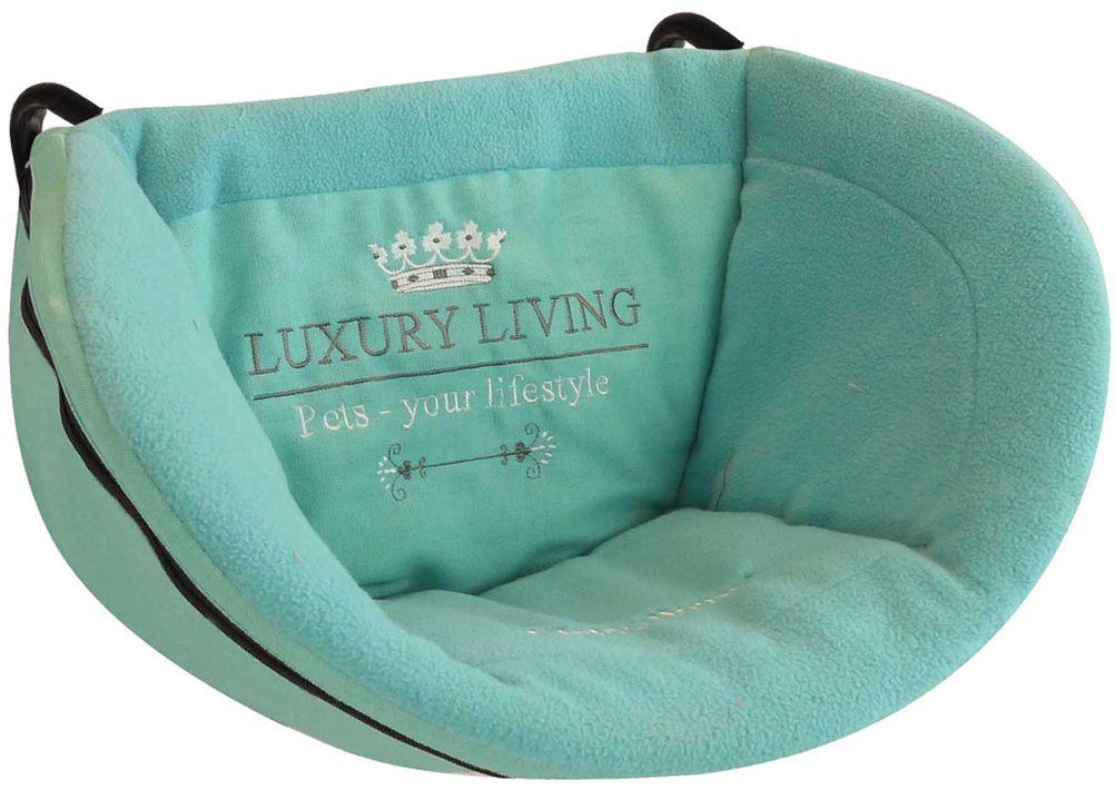 Корзина подвесная для домашних животных Happy House Luxsury Living, на радиатор, цвет: мятный, 30х48х30 см4018-8