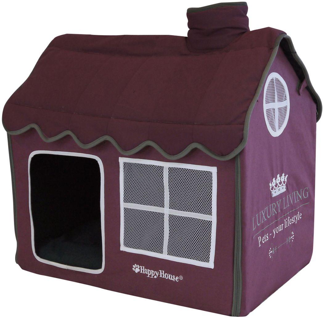 Домик для домашних животных Happy House Luxsury Living, цвет: пурпурный, 52 х 36 х 49 см4019-11Большой, уютный домик Happy House Luxsury Living, выполненный из полиэстера и картона, отлично подойдет для вашего любимца. Такой домик станет не только идеальным местом для сна вашего питомца, но и местом для отдыха. Внутрь домика ведет квадратное отверстие. Мягкий домик с оригинальным дизайном имеет сборную конструкцию, что облегчит его транспортировку и хранение. Внутри имеется съемная подушка. Подушку можно стирать при 30°С. Размер домика: 52 х 36 х 49 см.