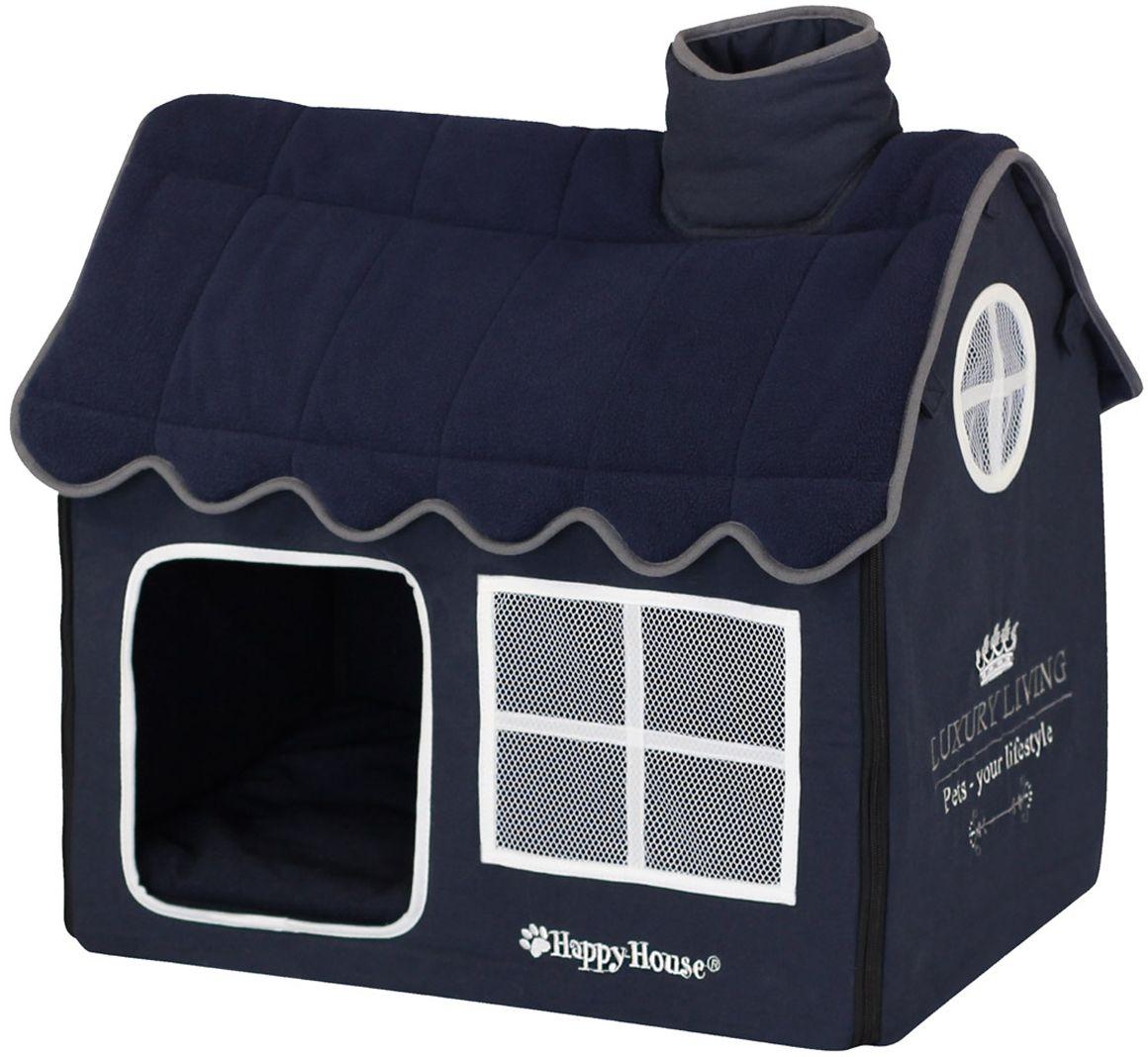 Вилла для домашних животных Happy House Luxsury Living, цвет: синий, 52х36х49 см4019-12