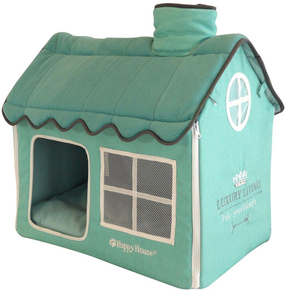 Домик для домашних животных Happy House Luxsury Living, цвет: мятный, 62 х 42 х 59 см4020-8Большой, уютный домик Happy House Luxsury Living, выполненный из полиэстера и картона, отлично подойдет для вашего любимца. Такой домик станет не только идеальным местом для сна вашего питомца, но и местом для отдыха. Внутрь домика ведет квадратное отверстие. Мягкий домик с оригинальным дизайном имеет сборную конструкцию, что облегчит его транспортировку и хранение. Внутри имеется съемная подушка. Подушку можно стирать при 30°С. Размер домика: 62 х 42 х 59 см.