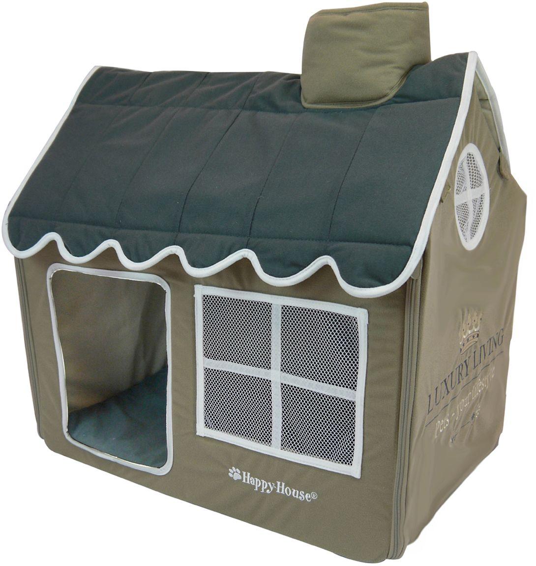 Домик для домашних животных Happy House Luxsury Living, цвет: серый, серо-зеленый, 62 х 42 х 59 см4020Большой, уютный домик Happy House Luxsury Living, выполненный из полиэстера и картона, отлично подойдет для вашего любимца. Такой домик станет не только идеальным местом для сна вашего питомца, но и местом для отдыха. Внутрь домика ведет квадратное отверстие. Мягкий домик с оригинальным дизайном имеет сборную конструкцию, что облегчит его транспортировку и хранение. Внутри имеется съемная подушка. Подушку можно стирать при 30°С. Размер домика: 62 х 42 х 59 см.
