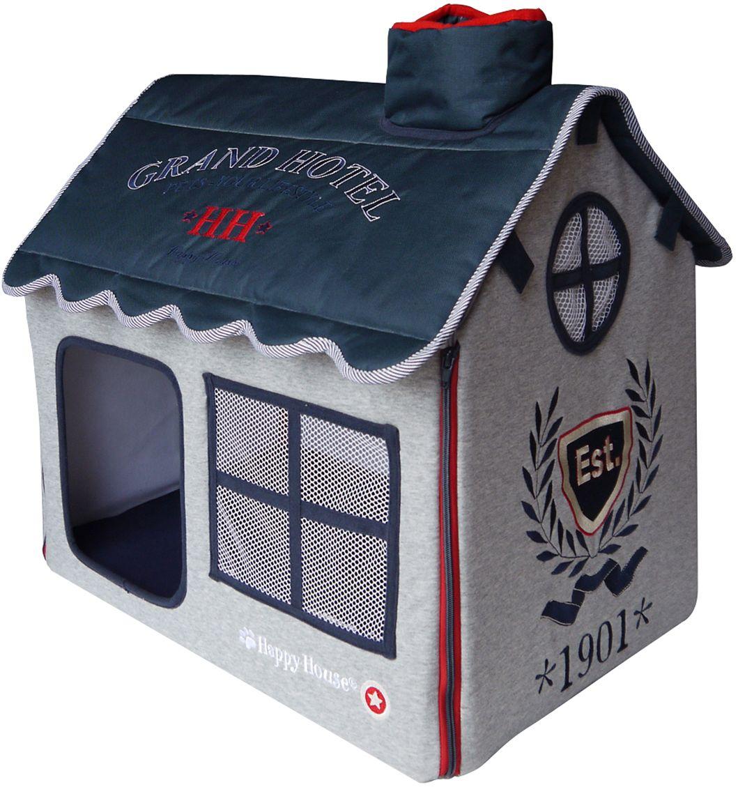 Домик для домашних животных Happy House Sport, цвет: серый, синий, 52 х 36 х 49 см4098Большой, уютный домик Happy House Sport, выполненный из полиэстера и картона, отлично подойдет для вашего любимца. Такой домик станет не только идеальным местом для сна вашего питомца, но и местом для отдыха. Внутрь домика ведет квадратное отверстие. Мягкий домик с оригинальным дизайном имеет сборную конструкцию, что облегчит его транспортировку и хранение. Внутри имеется съемная подушка. Подушку можно стирать при 30°С. Размер домика: 52 х 36 х 49 см.