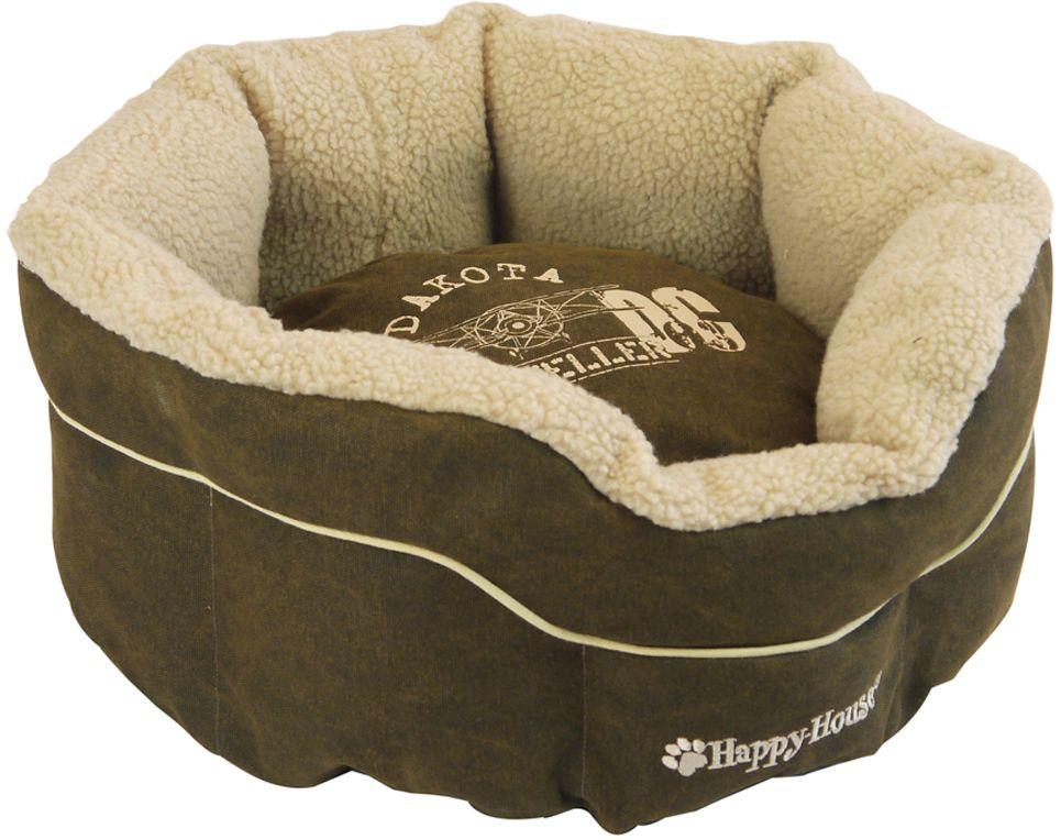 Корзина для домашних животных Happy House Dakota, цвет: темно-коричневый, 46х46х21 см4192-2
