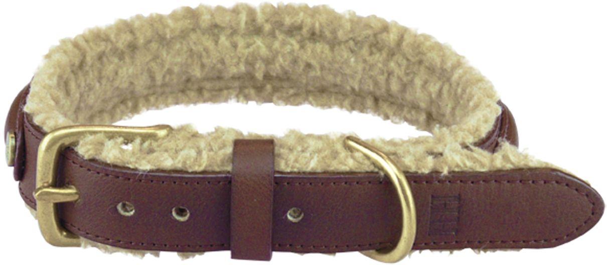 Ошейник для собак Happy House Fur, цвет: коричневый, обхват шеи 43-50 см, ширина 2,5 см. Размер L6221-4