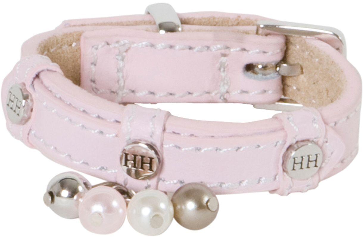 Ошейник для собак Happy House Beads, цвет: розовый, обхват шеи 15-18 см, ширина 1,2 см. Размер XXXS6702-1