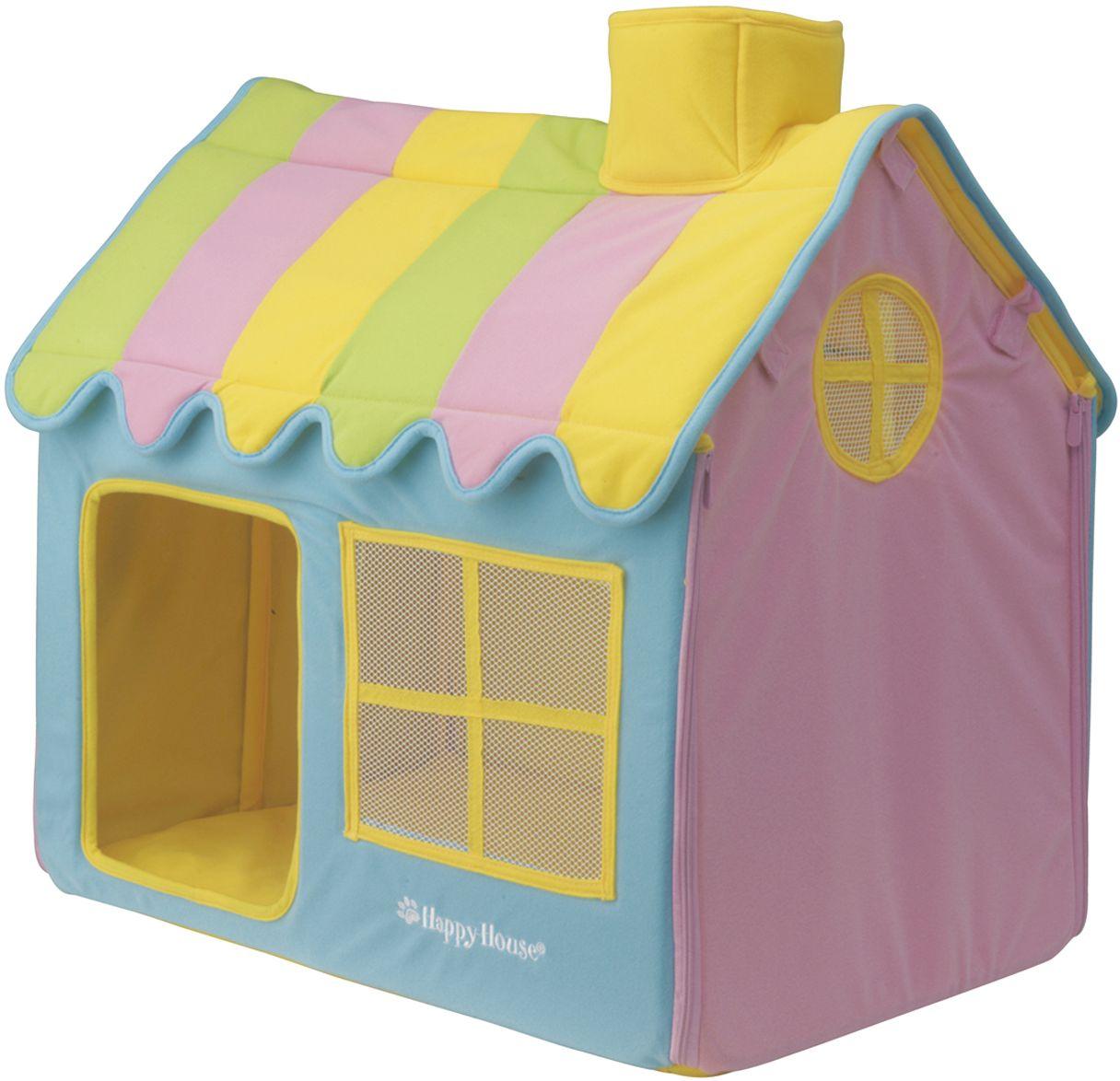 Домик для домашних животных Happy House Happy Life, цвет: желтый, синий, розовый, 62 х 42 х 59 см8461Большой, уютный домик Happy House Happy Life, выполненный из полиэстера и картона, отлично подойдет для вашего любимца. Такой домик станет не только идеальным местом для сна вашего питомца, но и местом для отдыха. Внутрь домика ведет квадратное отверстие. Мягкий домик с оригинальным дизайном имеет сборную конструкцию, что облегчит его транспортировку и хранение. Внутри имеется съемная подушка. Подушку можно стирать при 30°С. Размер домика: 62 х 42 х 59 см.