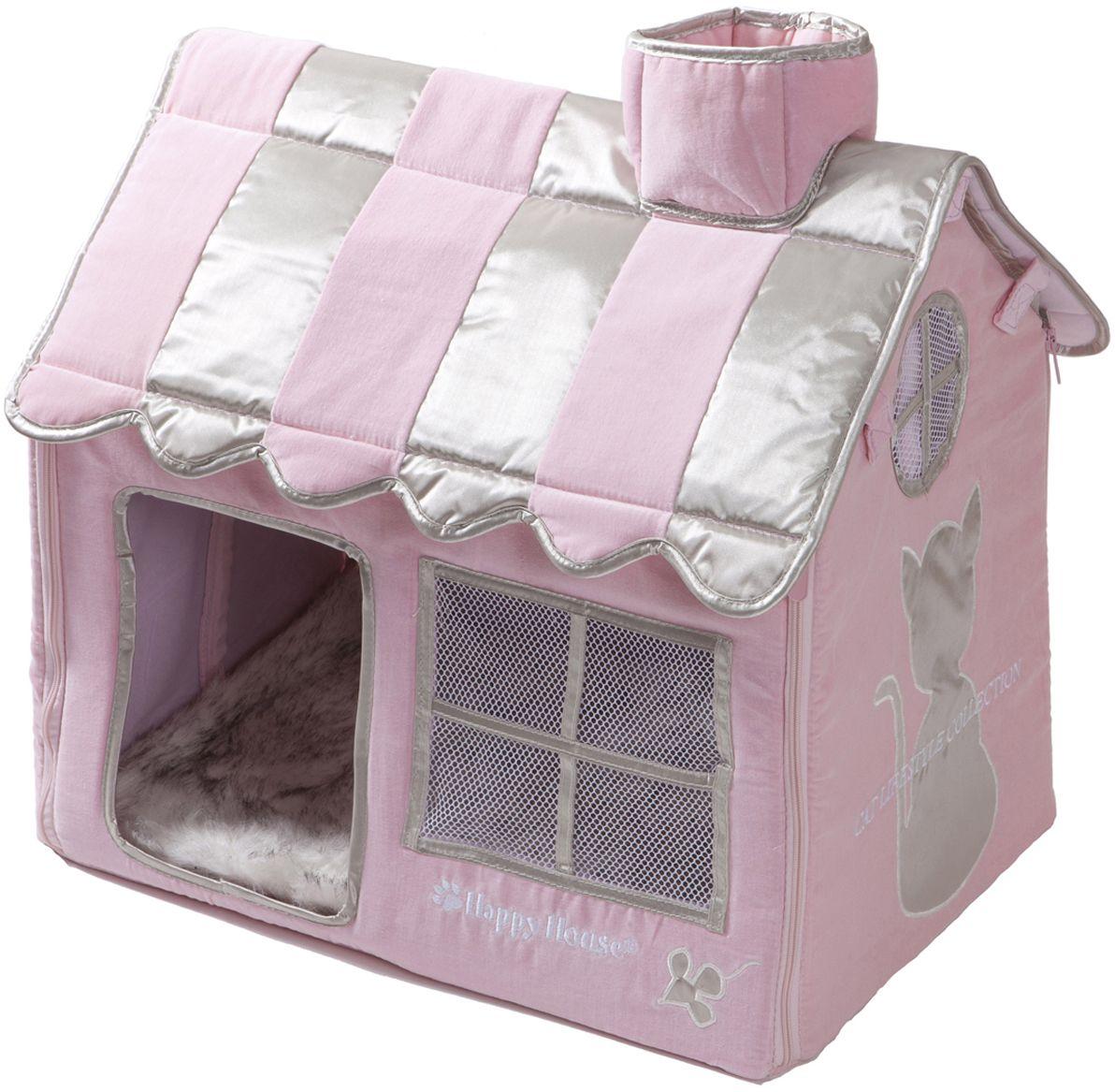 Домик для кошек Happy House Cat Lifestyle, цвет: розовый, 52 х 36 х 49 см8475-1Большой, уютный домик Happy House Cat Lifestyle, выполненный из полиэстера и картона, отлично подойдет для вашего любимца. Такой домик станет не только идеальным местом для сна вашего питомца, но и местом для отдыха. Внутрь домика ведет квадратное отверстие. Мягкий домик с оригинальным дизайном имеет сборную конструкцию, что облегчит его транспортировку и хранение. Внутри имеется съемная подушка из искусственного меха. Размер домика: 52 х 36 х 49 см.