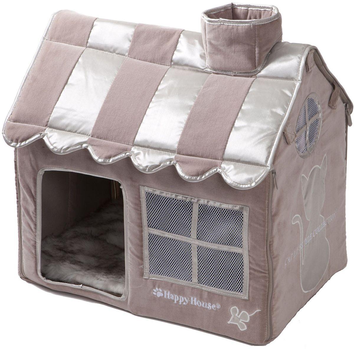 Домик для кошек Happy House Cat Lifestyle, цвет: серый, молочно-коричневый, 52 х 36 х 49 см8475-2Большой, уютный домик Happy House Cat Lifestyle, выполненный из полиэстера и картона, отлично подойдет для вашего любимца. Такой домик станет не только идеальным местом для сна вашего питомца, но и местом для отдыха. Внутрь домика ведет квадратное отверстие. Мягкий домик с оригинальным дизайном имеет сборную конструкцию, что облегчит его транспортировку и хранение. Внутри имеется съемная подушка из искусственного меха. Размер домика: 52 х 36 х 49 см.