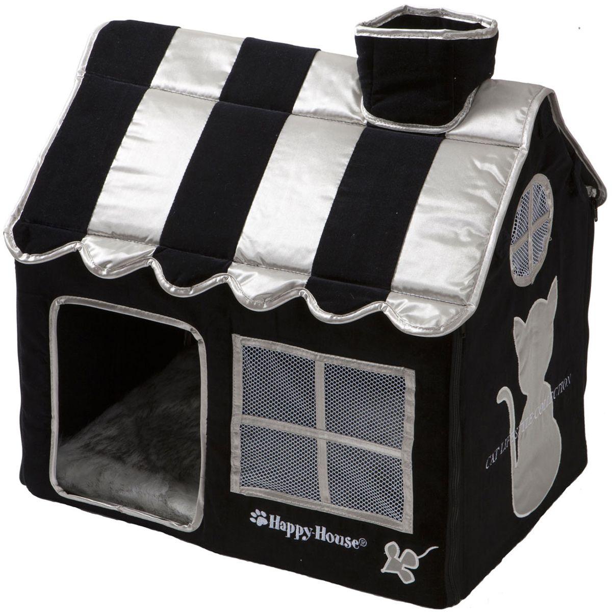 Домик для кошек Happy House Cat Lifestyle, цвет: черный, 52 х 36 х 49 см8475-3Большой, уютный домик Happy House Cat Lifestyle, выполненный из полиэстера и картона, отлично подойдет для вашего любимца. Такой домик станет не только идеальным местом для сна вашего питомца, но и местом для отдыха. Внутрь домика ведет квадратное отверстие. Мягкий домик с оригинальным дизайном имеет сборную конструкцию, что облегчит его транспортировку и хранение. Внутри имеется съемная подушка из искусственного меха. Размер домика: 52 х 36 х 49 см.