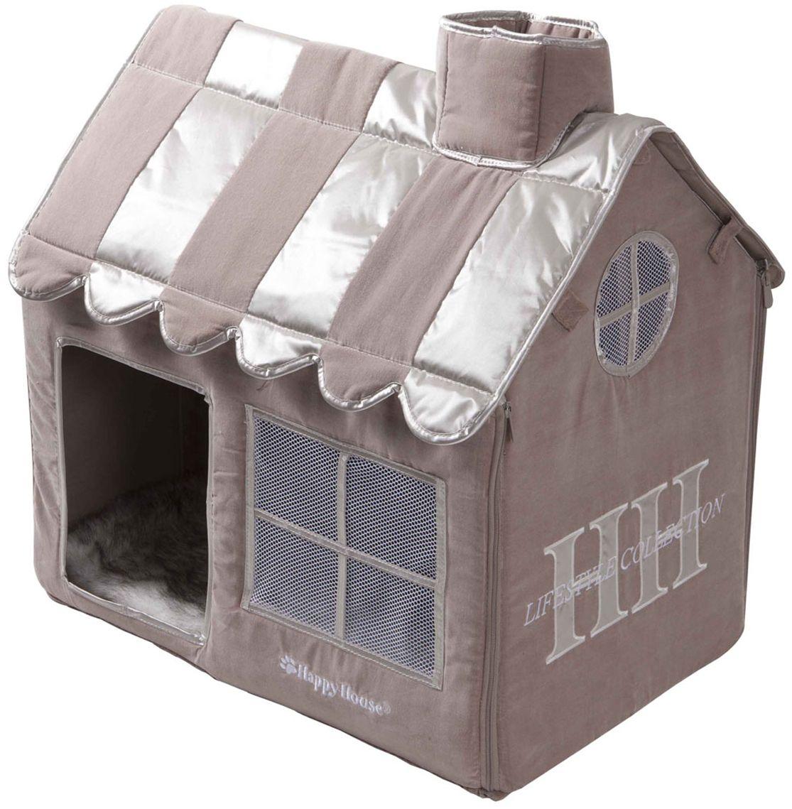 Домик для кошек Happy House Cat Lifestyle, цвет: серый, молочно-коричневый, 62 х 42 х 59 см8480-2Домик Happy House Cat Lifestyle непременно станет любимым местом отдыха вашего домашнего любимца. Изделие выполнено из картона и обтянуто бархатной тканью с атласными вставками. Внутри имеется мягкая съемная подстилка из искусственного меха. Крыша домика крепится при помощи липучек и полностью снимается, а каркас соединяется застежкой-молнией. В таком домике вашему питомцу будет мягко и тепло. Он подарит ему ощущение уюта и уединенности, а также возможность спрятаться. Очень удобен для транспортировки и легко складывается.