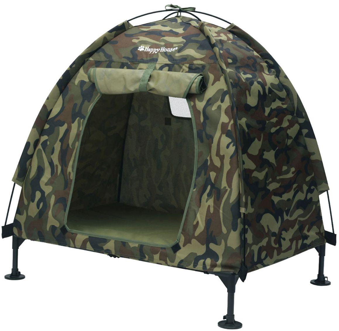 Палатка для собак Happy House Outdoor, цвет: камуфляж, 110 х 82 х 92 см8513Палатка для собак Happy House Outdoor - незаменимая вещь для вашего питомца. Палатка выполняет роль мобильного убежища, где животное будет себя чувствовать комфортно и в безопасности. В палатке он может спать, играть и прятаться. Палатка выполнена из плотной ткани. Она оснащена вентиляционным окном и входом, который закрывается на сверхпрочную застежку-молнию. Палатка легко и быстро сворачивается и не занимает много места при хранении. Палатку можно установить в любом удобном месте. Она позволит вам контролировать действия вашего домашнего животного и приучить его к чистоплотности. Также палатку можно использовать на выставках и для транспортировки животного. Максимальный вес животного: 50 кг.