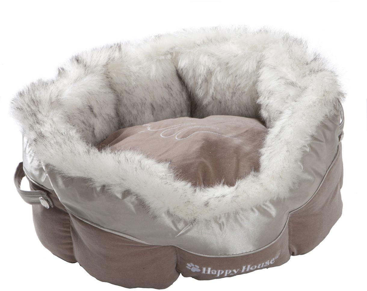 Лежак для животных Happy House Cat Lifestyle, цвет: светло-коричневый, серебристый, 46 х 46 х 21 см8625-2Лежак Happy House Cat Lifestyle непременно станет любимым местом отдыха вашего домашнего животного. Изделие выполнено из искусственного меха, велюра и полиэстера. Материал не теряет своей формы долгое время. Внутри имеется мягкая съемная подстилка. На таком лежаке вашему любимцу будет мягко и тепло. Он подарит вашему питомцу ощущение уюта и уединенности, а также возможность спрятаться.