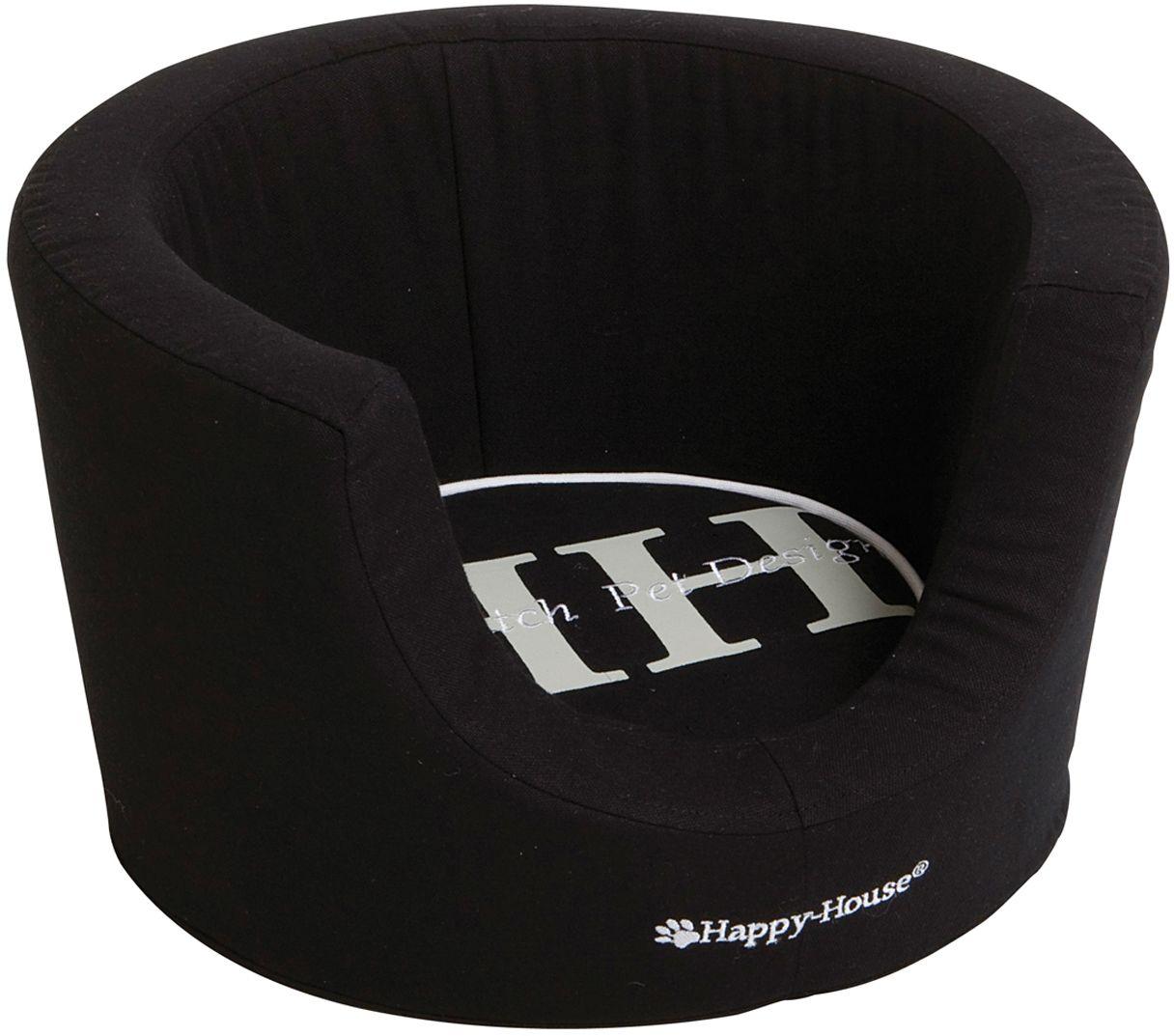 Лежак для животных Happy House Canvas Comfort, цвет: черный, 52 х 52 х 31 см8912-5Лежак Happy House Canvas Comfort непременно станет любимым местом отдыха вашего домашнего животного. Изделие выполнено из высококачественного хлопка, а наполнитель - из полиэстера. Такой материал не теряет своей формы долгое время. Внутри имеется мягкая съемная подстилка. На таком лежаке вашему любимцу будет мягко и тепло. Он подарит вашему питомцу ощущение уюта и уединенности.