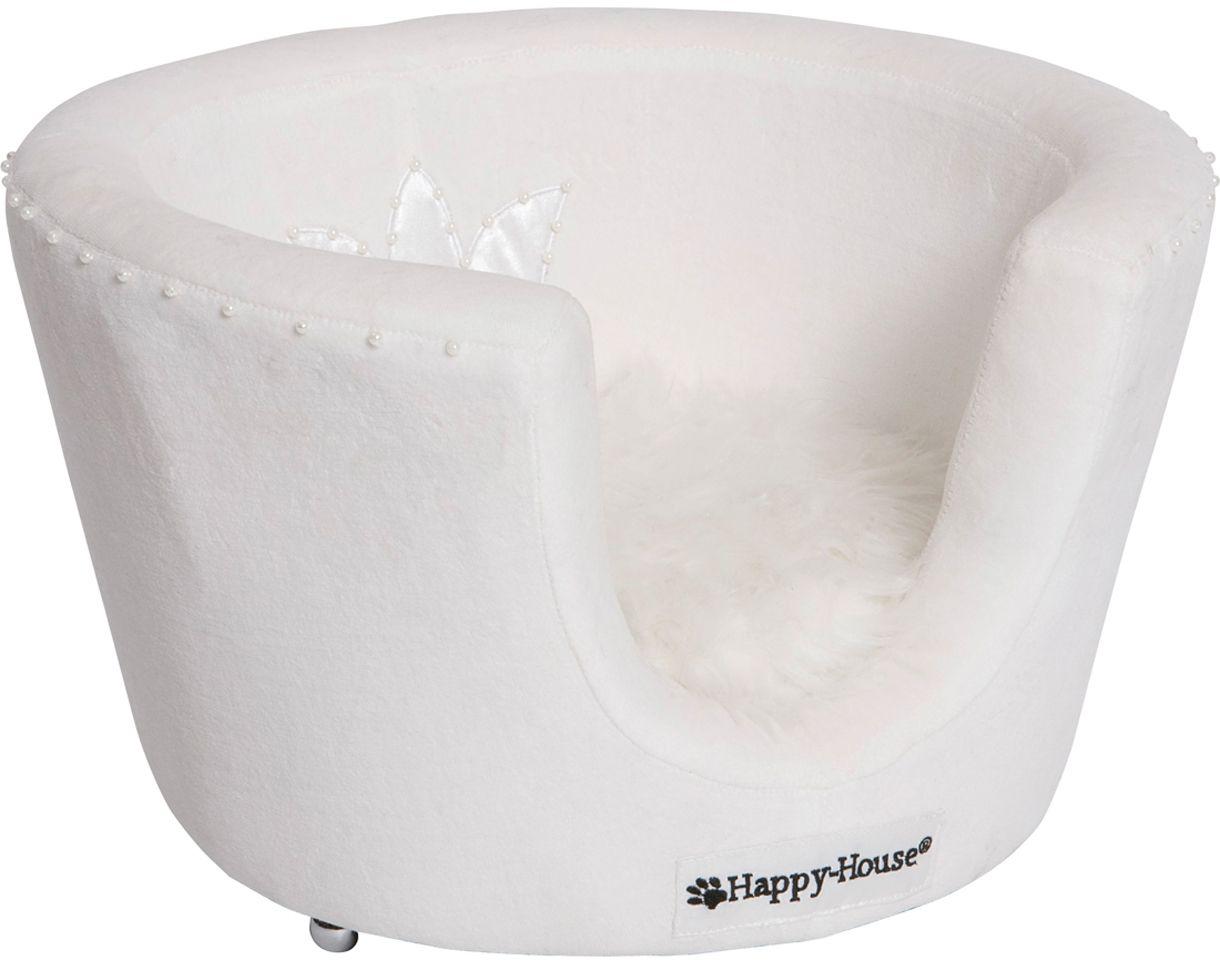 Лежак для животных Happy House Black & White, цвет: белый, 45 х 45 х 28 см8930Лежак Happy House Black & White обязательно понравится вашему питомцу. Изделие выполнено из искусственного меха, велюра и атласа, декорировано искусственным жемчугом. Такой материал не теряет своей формы долгое время. Внутри имеется мягкая съемная подстилка. Высокие борта обеспечат вашему любимцу уют, ему сразу же захочется забраться на лежак, там он сможет отдохнуть и подремать в свое удовольствие. Мягкий лежак станет излюбленным местом вашего питомца, подарит ему спокойный и комфортный сон, а также убережет вашу мебель от многочисленной шерсти.