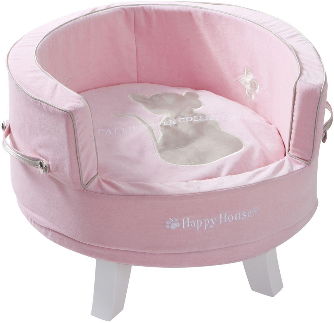 Лежак для кошек Happy House Cat Lifestyle, цвет: розовый, 50 х 45 х 32 см8960-1Лежак Happy House Cat Lifestyle обязательно понравится вашему питомцу. Изделие выполнено из дерева и обтянуто велюром и сатином. Внутри имеется мягкая подстилка. Высокие борта обеспечат вашему любимцу уют, ему сразу же захочется забраться на лежак, там он сможет отдохнуть и подремать в свое удовольствие. Лежак станет излюбленным местом вашего питомца, подарит ему спокойный и комфортный сон, а также убережет вашу мебель от многочисленной шерсти. Рекомендуемый вес животного: до 15 кг.
