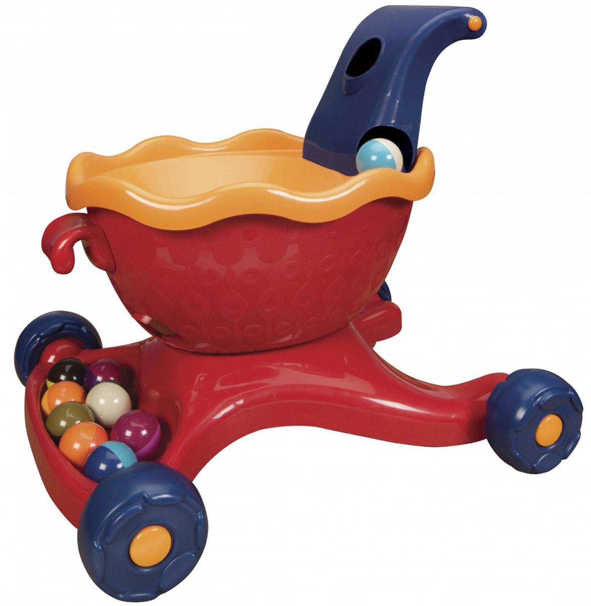 B.Dot Каталка-ходунки с шариками цвет красный68654_розовыйКаталка-ходунки B.Dot приведет в восторг вашего ребенка и поможет ему быстрее научиться ходить. Она выполнена из прочного пластика в виде тележки с разноцветными шариками. Каталка-ходунки оснащена четырьмя резиновыми колесами и широкой ручкой, за которую малышу будет удобно ее катить перед собой. Если бросить шарик в верхнее отверстие, расположенное в ручке, он покатится вниз по кругу, исчезнет внутри тележки и появится в специальном лотке. В комплект входят девять шариков. Ходунки B.Dot помогут вашему ребенку в развитии координации движений, кроме того будут стимулировать к ходьбе, развивать баланс.