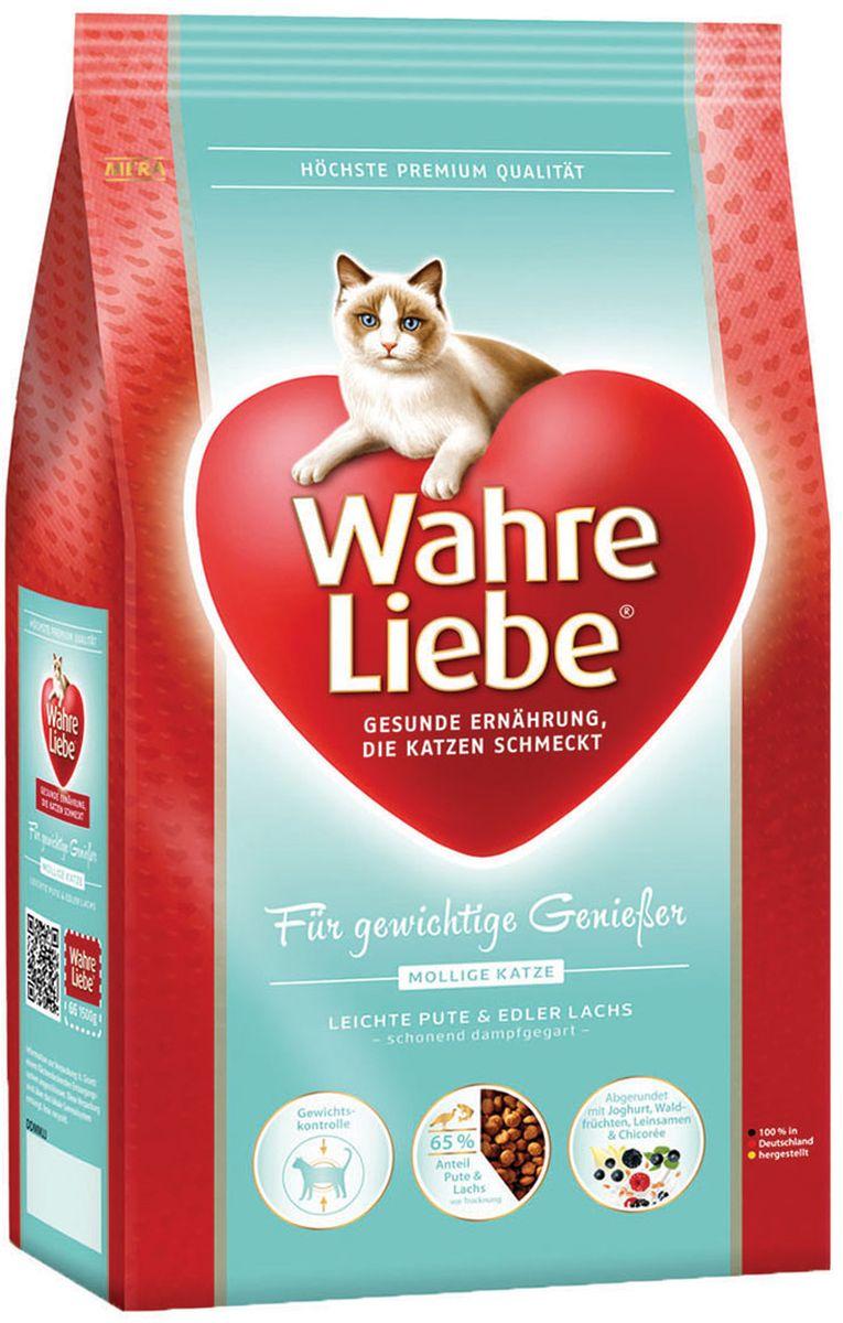 Корм сухой Wahre Liebe Mollige, для кошек с избыточным весом, стерилизованных и кастрированных, 1,5 кг30645Легкая формула для кошек с избыточным весом и предрасположенных к лишнему весу (стерилизованных и кастратов). Специально разработанная комбинация мяса домашней птицы, рыбы и риса, объединённая с льняным семенем, цикорием и йогуртом. Кошки с избыточным весом нуждаются в низкокалорийном корме с уменьшенным содержанием жира и с высоким содержанием связующих жир веществ. Наш рецепт продлевает чувство насыщения. Это позволяет уменьшить жировую ткань и увеличить рост мускулатуры.