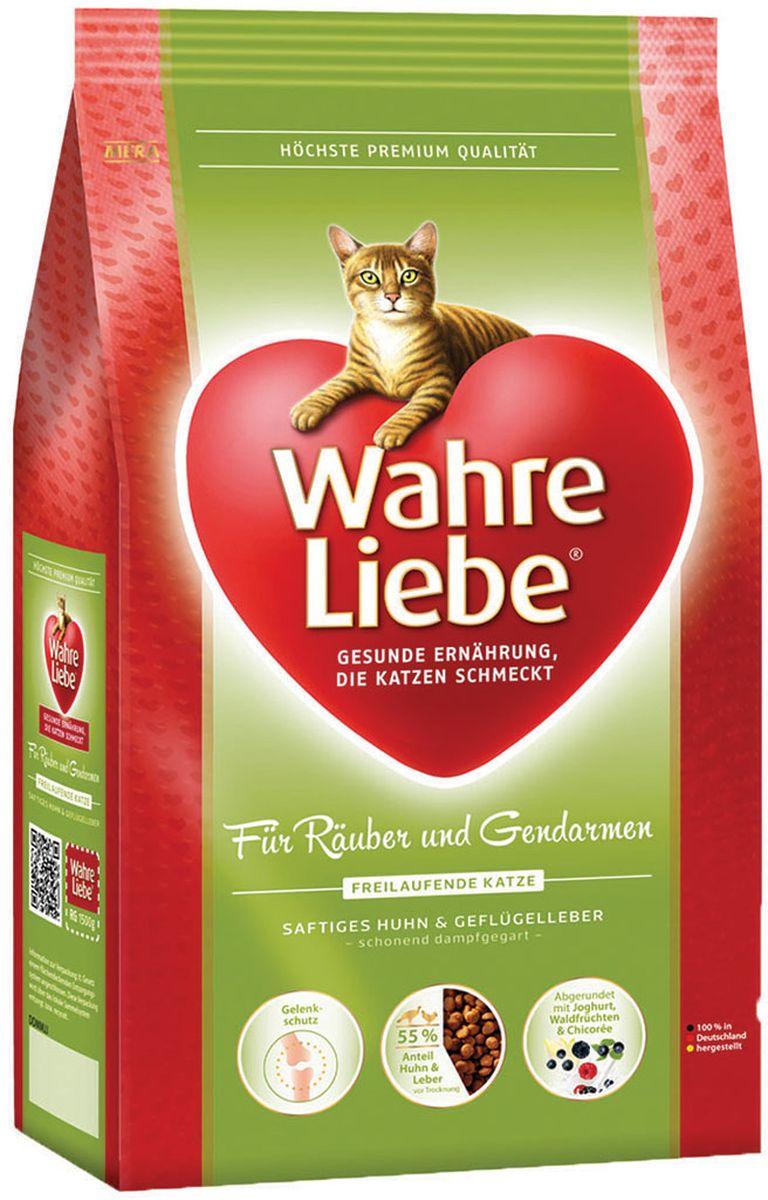 Корм сухой Wahre Liebe Freilaufende, для активных кошек, гуляющих на улице, 1,5 кг30745Для активных (гуляющих на улице) кошек Богатая энергией формула для активных кошек. С цыпленком, рисом и печенью домашней птицы, дополненная порошком из мяса моллюсков и цикорием. Активные кошки нуждаются в особенно богатой энергией и укрепляющей силы еде. Наш особый рецепт абсолютно удовлетворяет эти требования. А порошок из мяса моллюсков является прекрасным профилактическим средством, предупреждающим болезни суставов.
