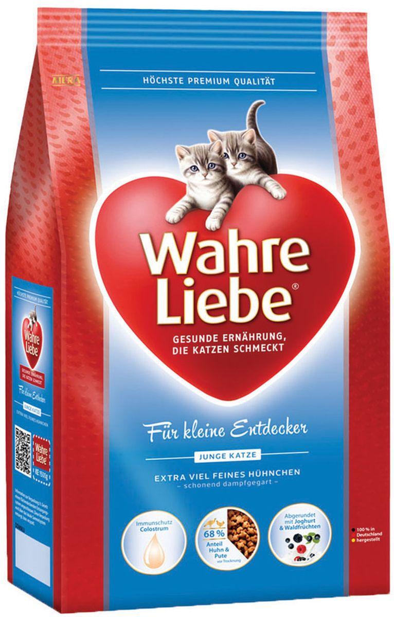 Корм сухой Wahre Liebe Junior, для котят, 1,5 кг30945Для котят (с колострумом) Идеальная рецептура для котят с колострумом (молозиво) С нежной курицей, рисом, куриной печенью и колострумом Приготовленный на щадящем пару корм с цыпленком, рисом и печенью домашней птицы. К питанию молодых кошек предъявляются особенно высокие требования. В нашей рецептуре точно учтена та энергетическая потребность, в которой нуждается Ваша кошка. Этот корм снабжает котят оптимально питательными веществами, которые отлично усваиваются организмом.